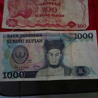 Uang lama seratus dan seribu rupiah