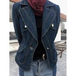Denim Blazer Jeans Tebal Navy
