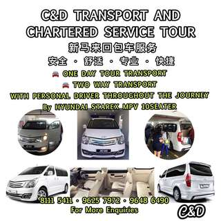 🌟 Malaysia Transport Service One Day Tour With Personal Driver Throughout the Journey  🌟 SG - Malaysia - SG Two Way Transport only • By HYUNDAI STAREX MPV 10seater Seats