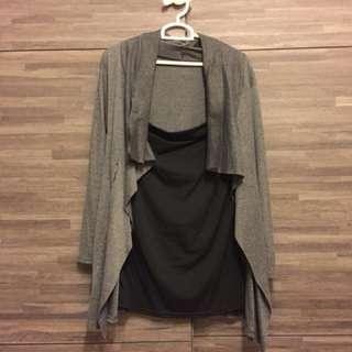 #31 Grey TOP - faux jacket
