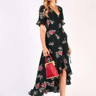 Dressabelle Front Wrapped Maxi Dress (Black Floral)