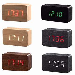 [LARGE DISCOUNT] Wooden Multi-functional Modern LED Digital Desk Clock, Portable Clock, Classy And Inexpensive, Table Clock, Office And Home Decor, Ready Local Stock, Local Delivery, 120×60×40mm, MEDIUM SIZE, BEST PRICE OFFERED