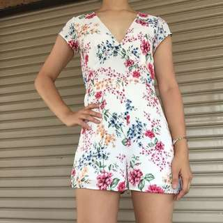 Sportsgirl deep v-neck floral playsuit