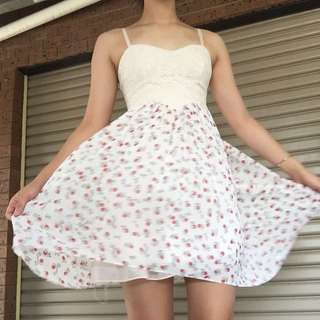 Lace top cherry dress