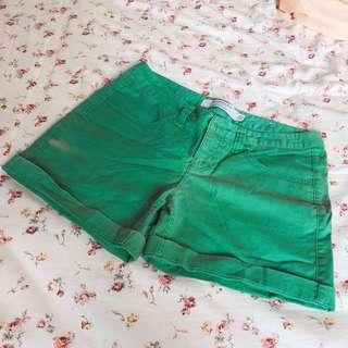 Giordano 純棉綠色彈性短褲
