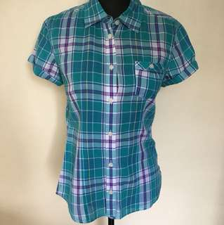 American Eagle checkered blouse, green, small