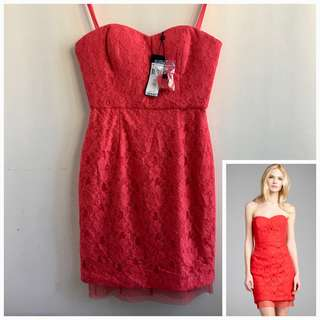 """BNWT BCBG 4 Red Berry and Lace """"Roselle"""" Strapless Sweetheart Dress"""
