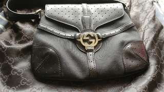 全新正品黑色真皮帆布GUCCI 手袋