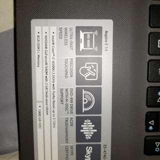 Acer laptop i7