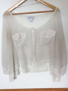 Cotton On White Batwing Top Size L