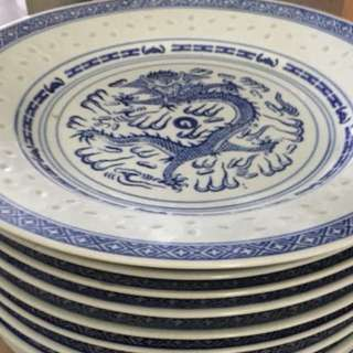 Blue white porcelain big plates$6 each