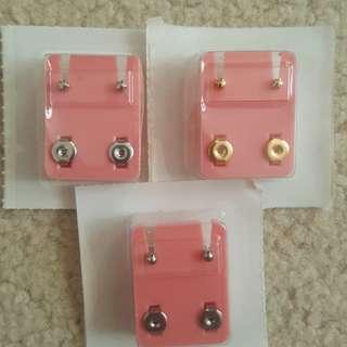 Sterilized earrings. Studs