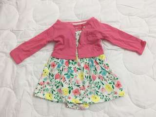Floral baby dress with cardigan