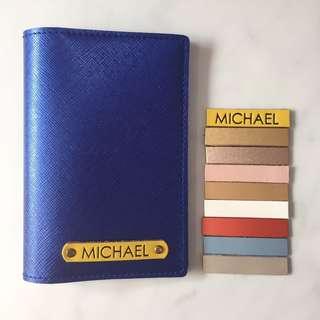 Personalised Passport Holder Custom Passport Cover Passport Case Customised NAME Metallic Saffiano Blue Holder Yellow Tag FREE SHIPPING