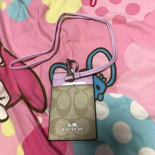 Coach lanyard and card holder in light pink and light brown colour