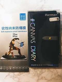 韓國品牌 Hanman iPhone 7 plus / 8 plus 翻蓋 全覆蓋 皮 電話套 深藍色