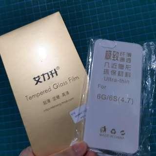 Apple iPhone 6/6s 玻璃保護貼及保護套 一套