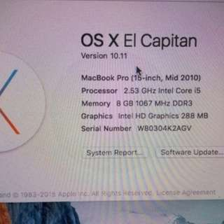Macbook pro 15 inch intel core i5 2.53GHz UPGRADE 8gb double vga