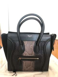Celine Micro luggage black python leather bag