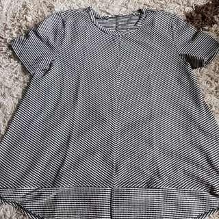 Zara Checkered Black and White Loose Top