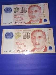 Singapore Portrait Polymer $10 Almost Solid No.1,8 (2pcs)
