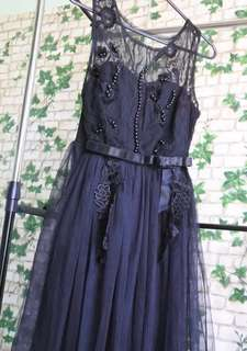 Long gown -black lace design with beads