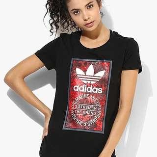 (😍秒殺5件) Adidas originals Women Tongue Label Tl Slim Printed Tee 女裝短袖T-Shirt # Black