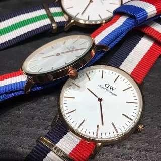 DW情侣款尼龍表带腕表!石英手表。四色,尺寸40mm