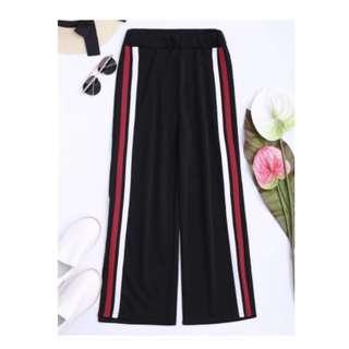 Side Tape Cropped Wide Leg Pants - Black (side stripe black pants)