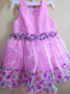 Pink polka dotted party dress