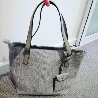 Kmart grey faux Croc skin handbag