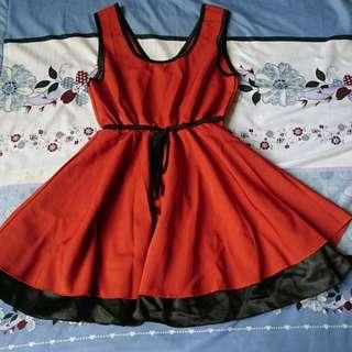 🚚 橘黑無袖洋裝