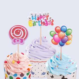 12 pcs pack: Birthday party cake topper