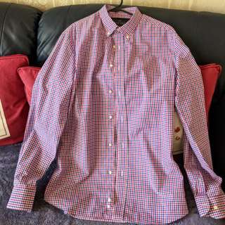 Men's Red/Blue Check Button-down Dress Shirt, Size: Small