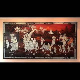 Fu Lu Shou - Nacre Lacquer Artwork (Mother of Pearl)