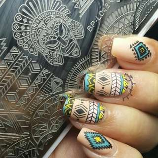 BORN PRETTY 12*6cm Rectangle Nail Art Stamping Plate Ethnic Design Manicure Nail Template BP-L048