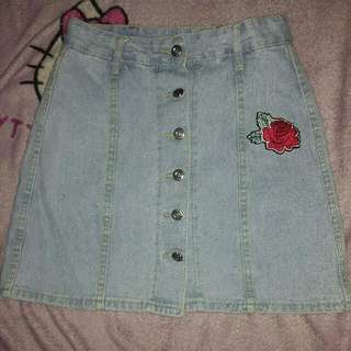 Repriced! Botton Down Denim Skirt