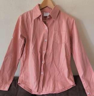 Dusty pink button down casual wear