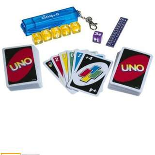 UNO Cards + Cinq O Dice Game Mattel