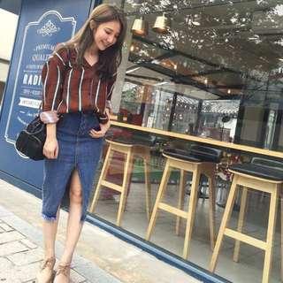全新轉賣 Korea sammy style 開叉單寧牛仔裙 三米