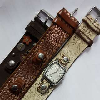FOSSIL WATCH WITH INTERCHANGEABLE STRAPS. GENUINE LEATHER. NEW BATTERIES