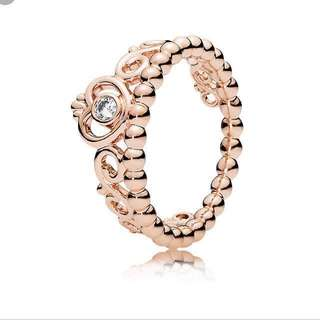 Gold princess pandora ring