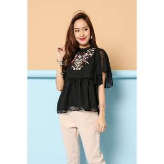 (PO) Sprightly Florals Embroidered Top