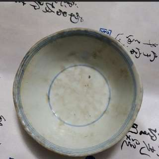 White and blue porcelain old old bowl