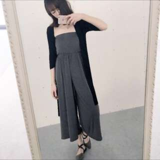 (全新)深灰色平口連身褲