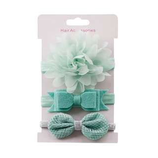 🦁instock - 3pc mint headband, baby infant toddler girl children sweet kid happy abcdefgh hello there