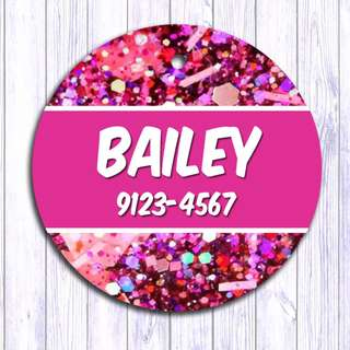 Glitter Pink pet tag , Pet ID , Dog , Cat , Handmade Customized , Personalized, Name , Clothing , Accessories , Pet Collars , Kids , Children , Key chain , keychain