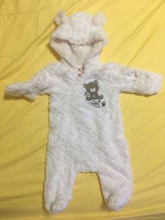 Fur jumpsuit ideal for aircon