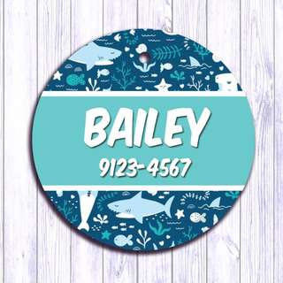 Shark Sea pet tag , Pet ID , Dog , Cat , Handmade Customized , Personalized, Name , Clothing , Accessories , Pet Collars , Kids , Children , Key chain , keychain