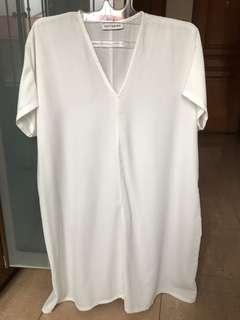 Cottonink V neck loose white dress